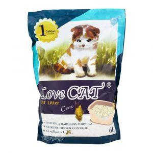 Cat Litter LOVE CAT Corn - Котешка тоалетна с аромат на царевица - 6 литра