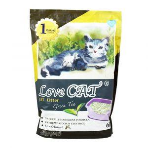 Cat Litter LOVE CAT Green Tea - Котешка тоалетна с аромат на зелен чай - 6 литра
