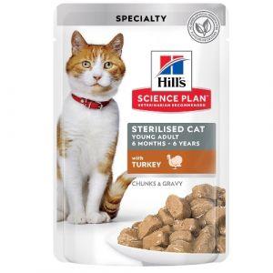 Hill's Science Plan Feline Young Adult Sterilised TURKEY - паучове с пуйка - малки късчета в сос Грейви за млади кастрирани котки от 6 месеца до 6 години. 12 бр. x 85 гр.