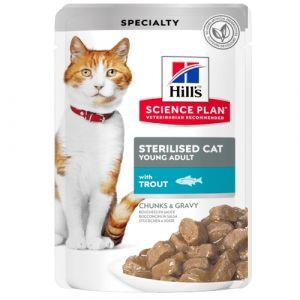 Hill's Science Plan Feline Young Adult Sterilised TROUT - паучове с пъстърва - малки късчета в сос Грейви за млади кастрирани котки от 6 месеца до 6 години. 12 бр. x 85 гр.