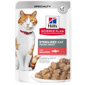 Hill's Science Plan Feline Young Adult Sterilised FISH - паучове с риба - малки късчета в сос Грейви за млади кастрирани котки от 6 месеца до 6 години. 12 бр. x 85 гр.