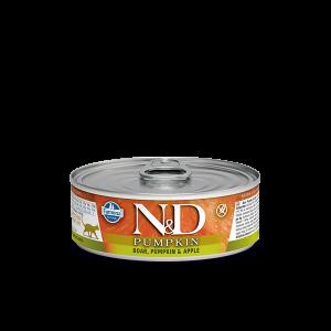 N&D Cat Pumpkin - консерва с глиганско, ябълка и тиква -  80 гр.