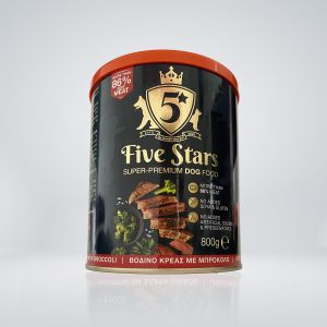 5 Stars Super premium dog food с Телешко и броколи, консерва 800 гр