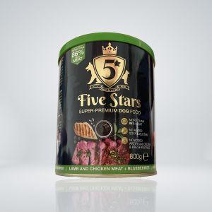 5 Stars Super premium dog food с Агне и боровинки, консерва 800 гр