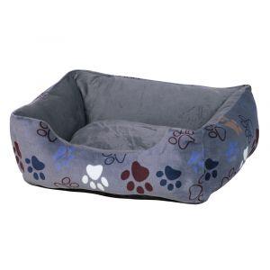 Nobby Comfort bed square Classic LISSI - меко легло за кучета, сиво с лапички