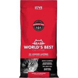 Worlds Best Cat Litter Multiple Cat Unscented - котешка постелка от пълнозърнеста царевица, биоразградима, без добавен аромат