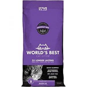 Worlds Best Cat Litter Multiple Cat Lavender - котешка постелка от пълнозърнеста царевица с аромат на лавандула, биоразградима