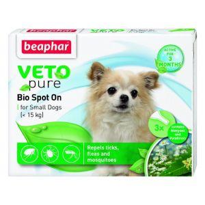 Beaphar Veto Pure Bio Spot On Dog - репелентни капки за кучета от дребни породи до 15 кг, 3 бр