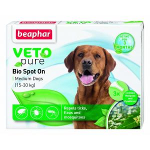 Beaphar Veto Pure Bio Spot On Dog - репелентни капки за кучета от средни породи 15-30 кг, 3 бр