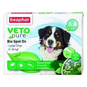 Beaphar Veto Pure Bio Spot On Dog - репелентни капки за кучета от едрите породи над 15 кг, 3 бр