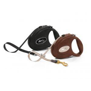 Flexi Leather - Луксозен автоматичен повод, oбшит с естествена козя кожа