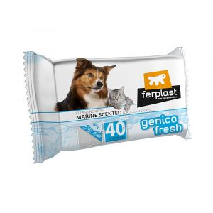 GENICO FRESH dog/cat  marine(x 40) - почистващи кърпички за кучета и котки с морски аромат 40 бр. в пакет 30x20cm
