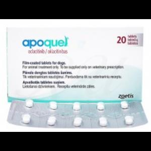 Apoquel 16 mg - 20 бр. филмирани таблетки за кучета за лечение на прурит (сърбеж), свързан с алергичен дерматит (възпаление на кожата)