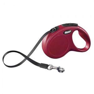 Flexi Classic M автоматичен повод за кучета - въже 5 м, червен