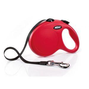 Flexi Classic M автоматичен повод за кучета - въже 8 м, червен
