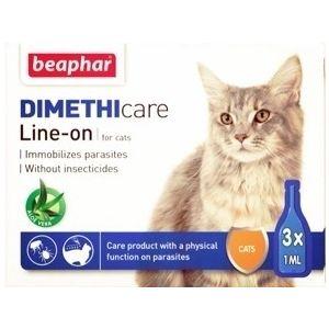 Beaphar Dimethicare Line-on Cat - противопаразитен препарат за котки с Диметикон, 3 броя пипети, без инсектицид