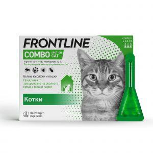 Frontline Combo Cat - Спот он форма с разтвор против бълхи (яйца, ларви и възрастни), кърлежи и хапещи въшки при котки