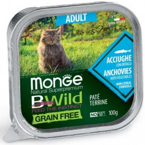 MONGE BWILD GRAIN FREE Adult Anchovy with vegetables – пастет за котки в зряла възраст с аншоа и зеленчуци - 100 гр
