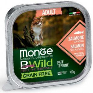 MONGE BWILD GRAIN FREE Adult salmon with vegetables – пастет за котки в зряла възраст със сьомга и зеленчуци - 100 гр