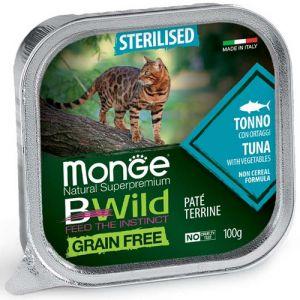 MONGE BWILD GRAIN FREE Sterilised Tuna with vegetables – пастет за кастрирани котки с риба тон и зеленчуци - 100 гр