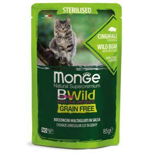 MONGE BWILD GRAIN FREE Sterilised wild boar with vegetables – хапки за кастрирани котки с глиганско и зеленчуци - пауч 85 гр
