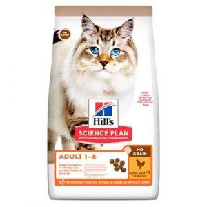 Hill's Science Plan NO GRAIN Adult Chicken - Пълноценна суха храна за котки в зряла възраст от 1 до 6 години, без съдържание на зърнени култури и глутен - 300 g