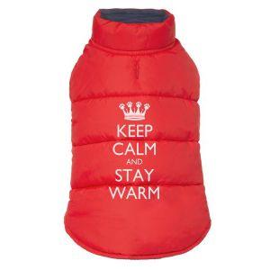 Pet Brands Puffer Jacket - Яке кучета, червено Keep Calm and Stay Warm