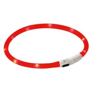 Kerbl LED Collar Maxi Safe - Светещ нашийник за куче с USB зареждане, червен - 55см