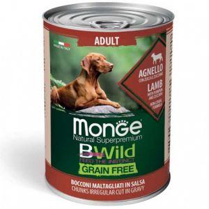 MONGE BWILD GRAIN FREE Adult lamb with pumpkin–хапки за кучета в зряла възраст  с агнешко, тиква и зеленчуци - 400 гр