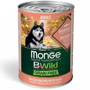 MONGE BWILD GRAIN FREE Adult salmon with pumpkin–хапки за кучета в зряла възраст  със сьомга, тиква и зеленчуци - 400 гр