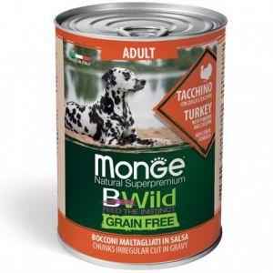 MONGE BWILD GRAIN FREE Adult turkey with pumpkin–хапки за кучета в зряла възраст с пуешко, тиква и зеленчуци - 400 гр