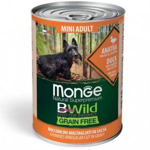 MONGE BWILD GRAIN FREE Mini Adult duck with pumpkin–хапки за кучета в зряла възраст от дребните породис патешко, тиква и зеленчуци - 400 гр
