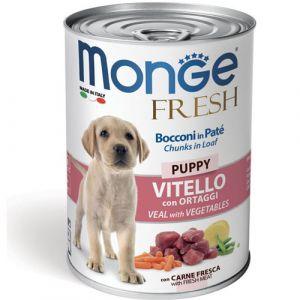 MONGE FRESH Puppy veal with vegetables - хапки за подрастващи кучета с телешко и зеленчуци - 400 гр