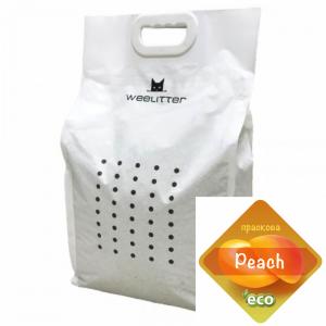 WeeLitter Peach - Натурална, биоразградима соева котешка тоалетна, аромат праскова