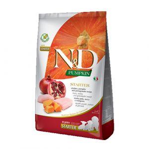 N&D Pumpkin Dog Chicken & Pomegranate Starter Puppy All Breeds - пълноценна стартер храна за кучета до 2 месеца от всички породи с тиква, пиле и нар  + ПОДАРЪК консерва