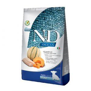 N&D Ocean Dog Cod, Pumpkin & Cantaloupe Melon Puppy Mini - пълноценна храна за подрастващи кучета до 1г. от дребните породи с тиква, риба треска и пъпеш