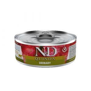 N&D Quinoa Cat Urinary - за котки в зряла възраст за намаляване на повторната поява на струвити камъни и заболявания на долните пикочни пътища. - 80 гр