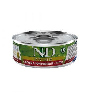 N&D Prime Cat Chicken & Pomegranate Kitten - Пълноценна мокра храна за подрастващи котенца до 1 год. , бременни или кърмещи котки,  с пиле и нар - 80 гр