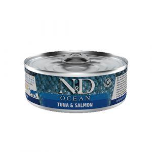 N&D Ocean Cat Tuna and Salmon - Пълноценна мокра храна за котки в зряла възраст над 1 година. С риба тон и сьомга - 80 гр