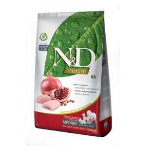 N&D Prime Dog Grain free Adult Medium&Maxi Chicken&Pomegranate - пълноценна храна за кучета над 1 година от средни и едри породи с пиле и нар - 12 кг