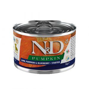 N&D Pumpkin Dog Lamb & Blueberry Starter Mini - Пълноценна консервирана храна за подрастващи кученца от мини породи до 2 месеца, с агне, тиква и боровинки - 140 гр