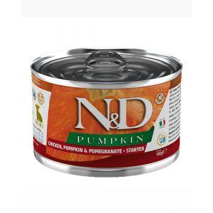 N&D Pumpkin Dog Chicken & Pomegranate Starter Mini - Пълноценна консервирана храна за подрастващи кученца от мини породи до 2 месеца, с пиле, тиква и нар - 140 гр