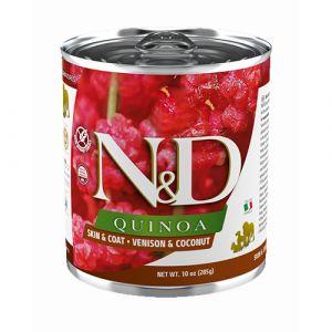 N&D Quinoa Dog Skin & Coat Venison & Coconut - пълноценна консервирана храна за кучета над 1г. с киноа, елен и кокос  - 285 гр