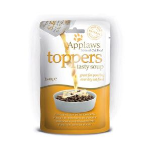 Applaws Cat Toppers Chicken Soup 3 x 40g - Овкусител за котки - Пилешка супа, пауч