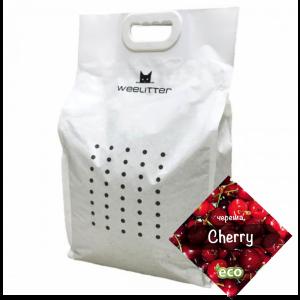WeeLitter Cherry - Натурална, биоразградима соева котешка тоалетна, аромат череша