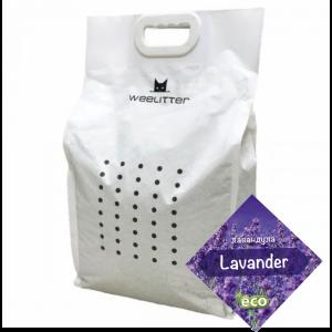 WeeLitter Lavander - Натурална, биоразградима соева котешка тоалетна, аромат лавандула